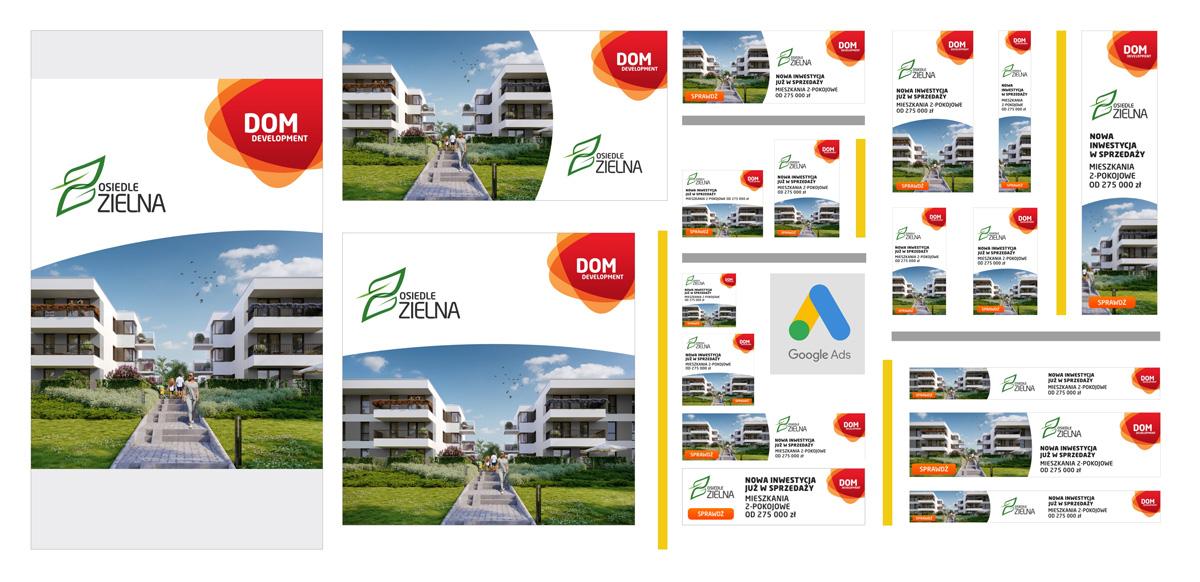 Kreacje reklamowe do kampanii promującej Osiedle Zielna, Dom Development Wrocław