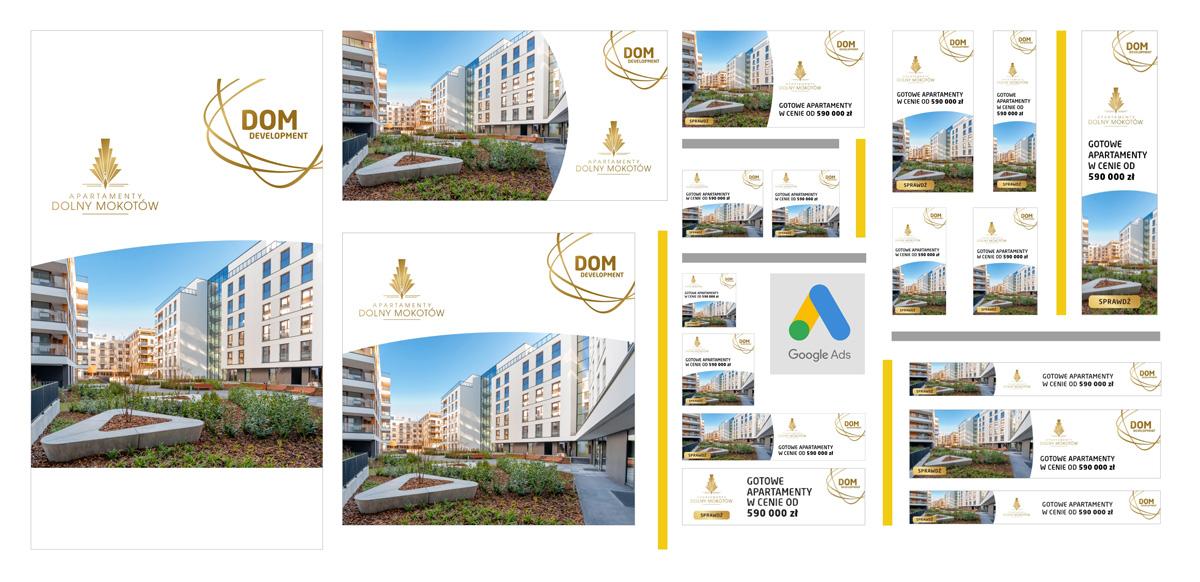 Kreacje reklamowe do kampanii promującej Apartamenty Dolny Mokotów, Dom Development