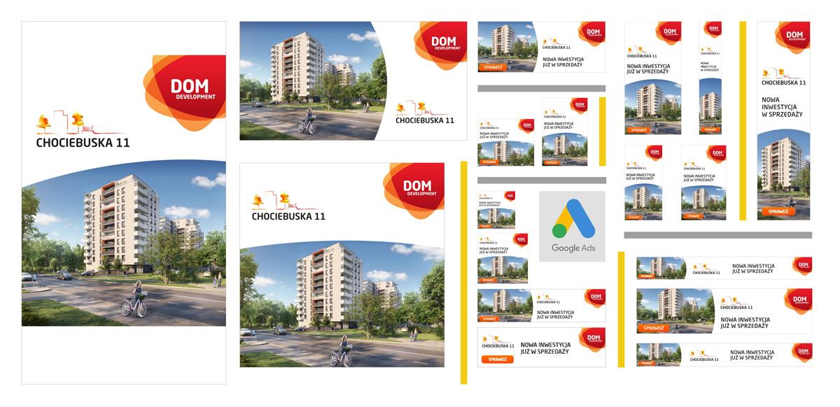 Kreacje reklamowe do kampanii teaserowej inwestycji Chociebuska 11, Dom Development Wrocław