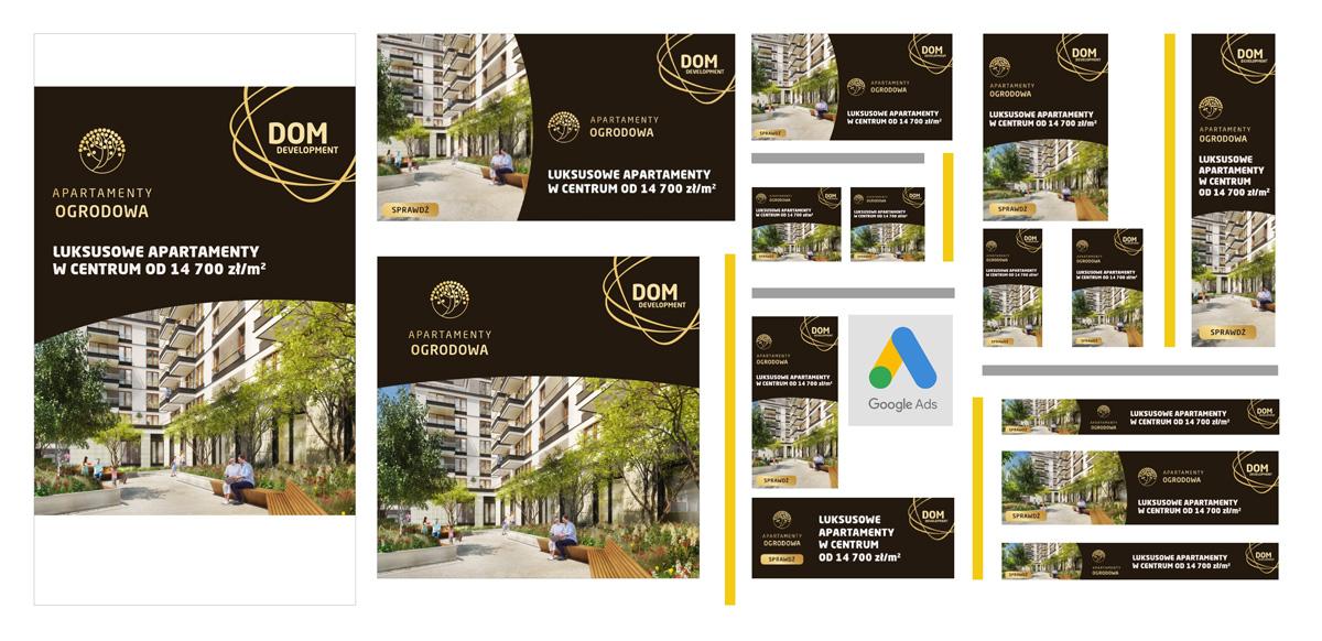 Kreacje reklamowe do kampanii promującej Apartamenty Ogrodowa, Dom Development