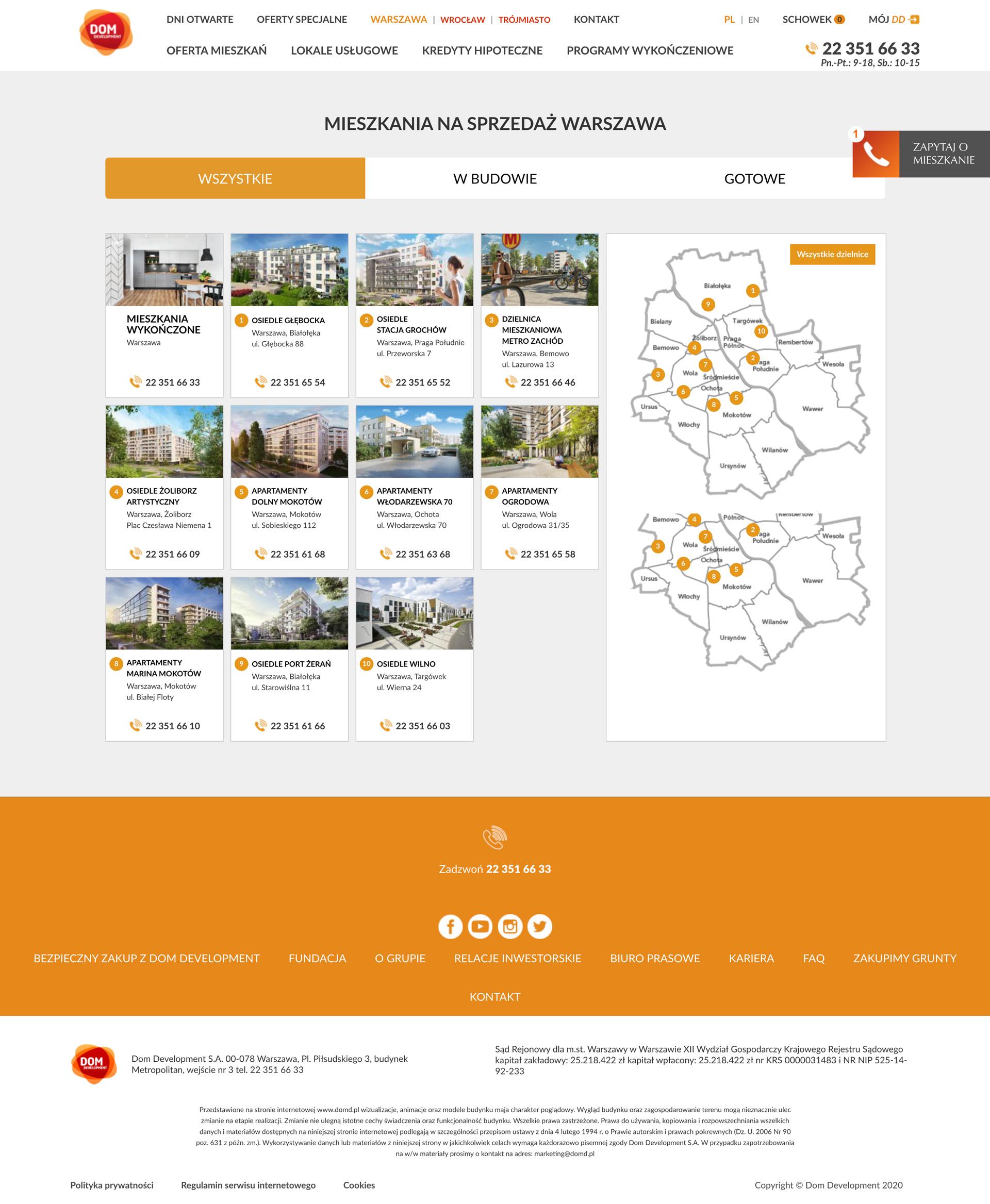 Serwis internetowy dla Dom Development S.A.