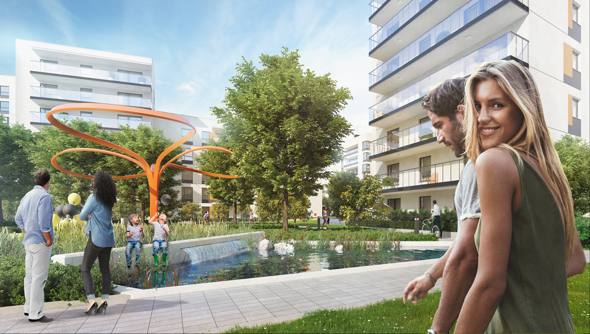 Wizualizacja dziedzińca w inwestycji Osiedle Forma, Dom Development