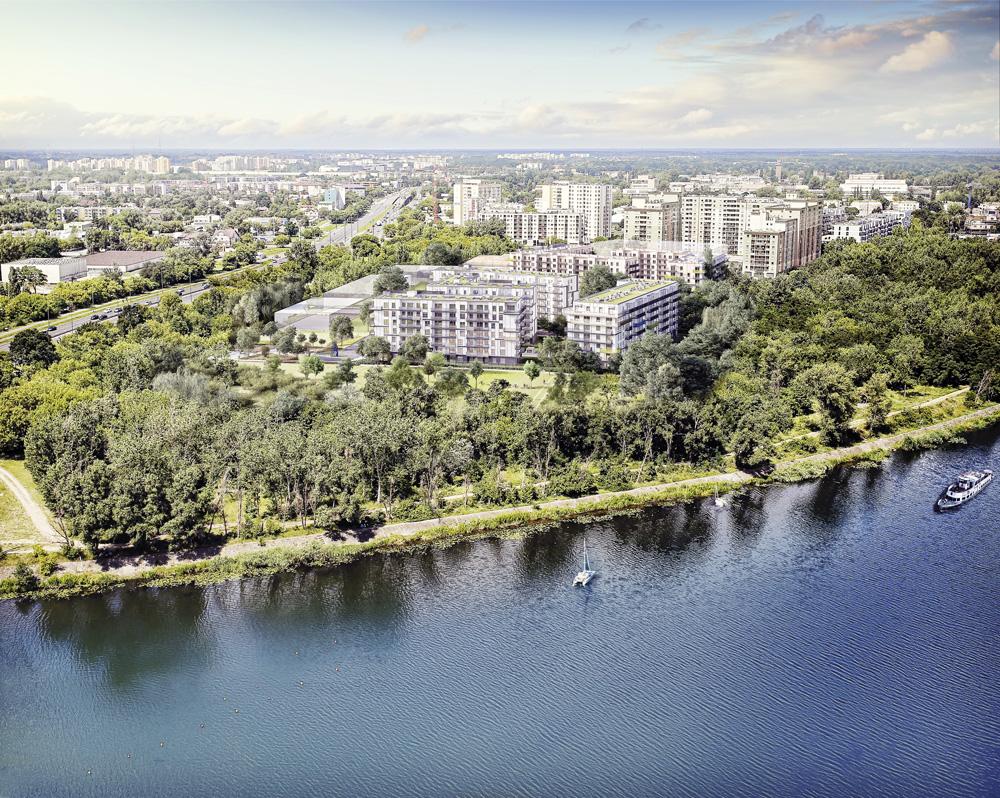 Wizualizacja osiedla Port Żerań, Dom Development - widok z lotu ptaka