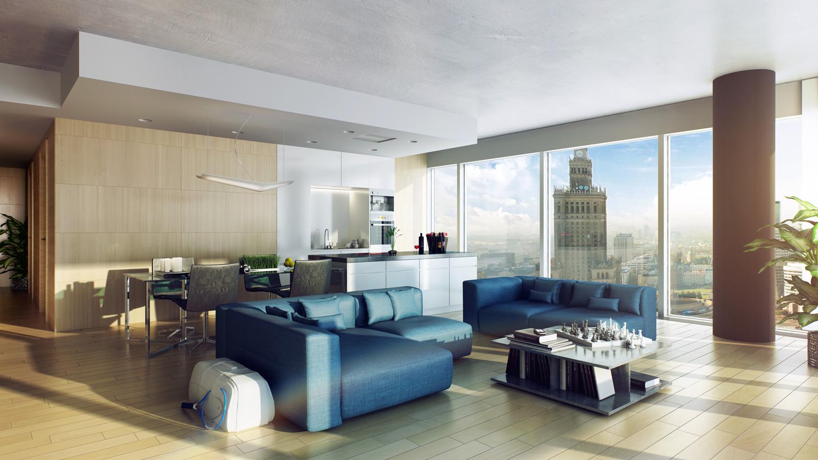 Wizualizacja apartamentu, Apartamenty Cosmopolitan, Tacit Investment