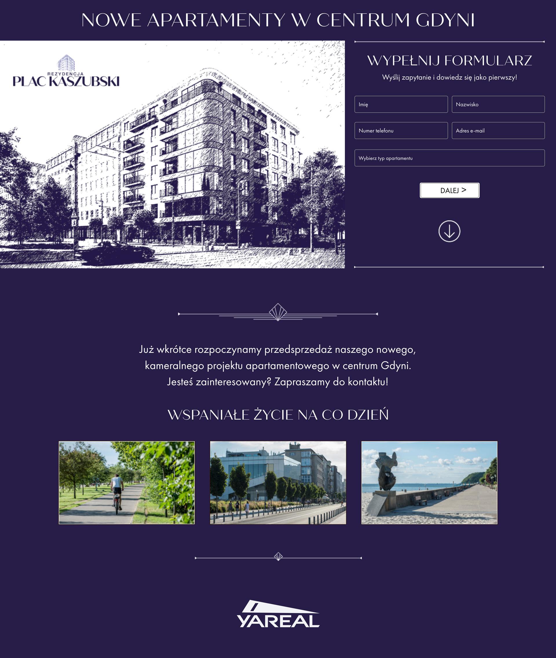 Landing page do kampanii teaserowej Yareal Polska dla inwestycji Rezydencja Plac Kaszybski