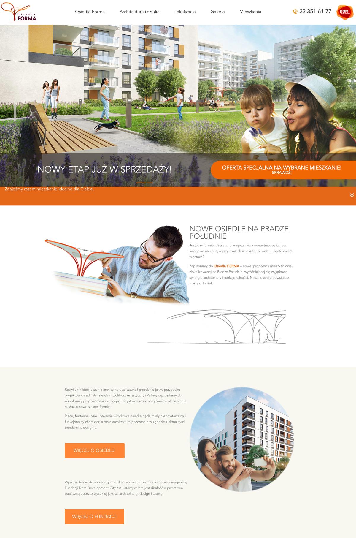 Landing page dla inwestycji Dom Development Osiedle Forma