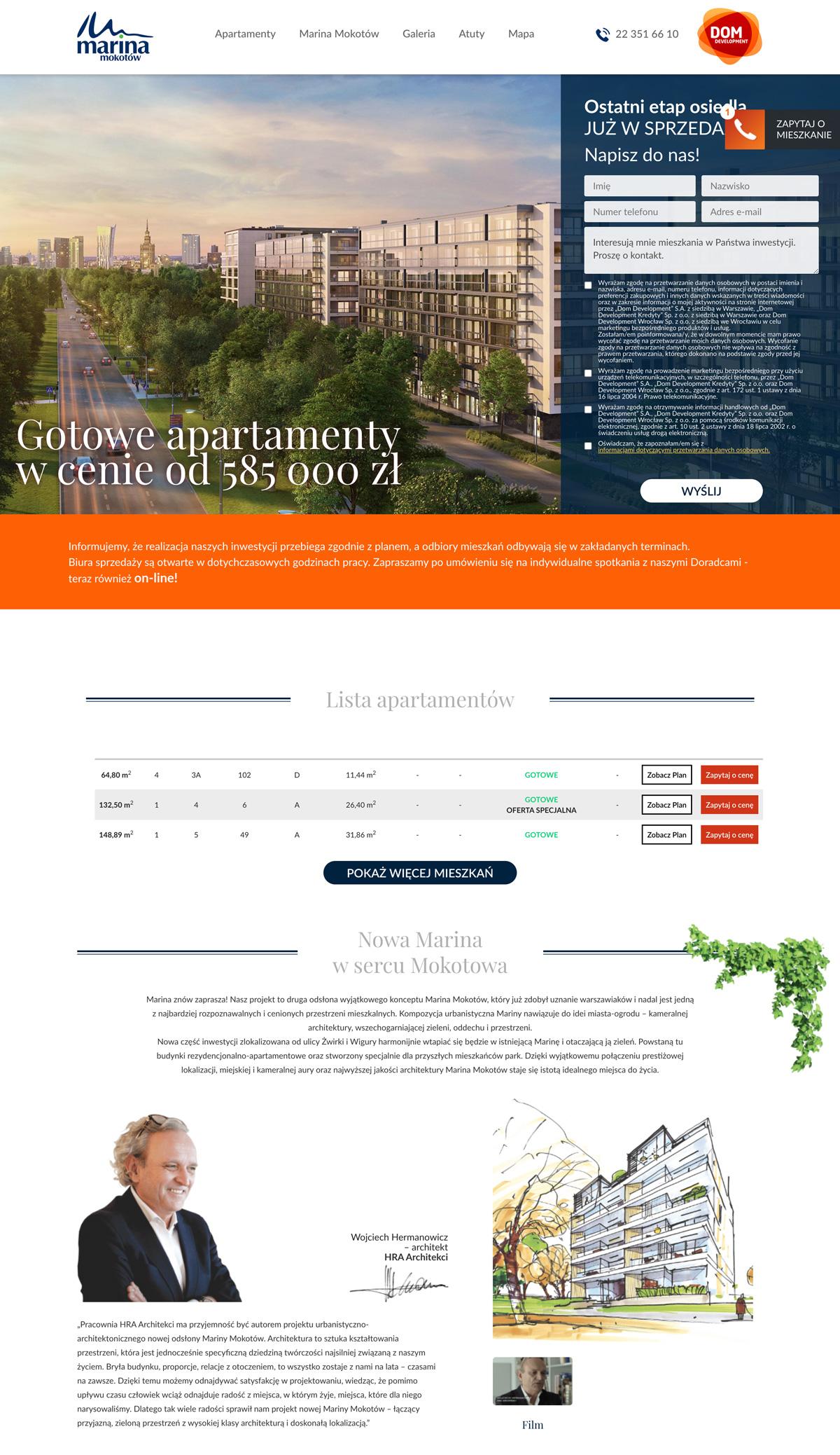 Landing page dla inwestycji Dom Development - Marina Mokotów