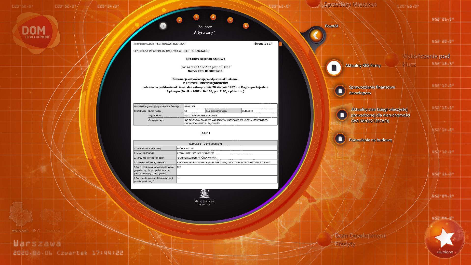 Widok z aplikacji Senseboard, Dom Development