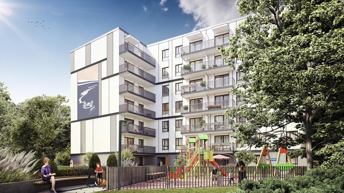 Wizualizacja elewacji, Osiedle Port Żerań, Dom Development