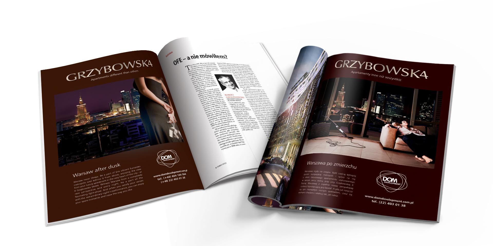 Reklama prasowa inwestycji Apartamenty Grzybowska 4, Dom Development